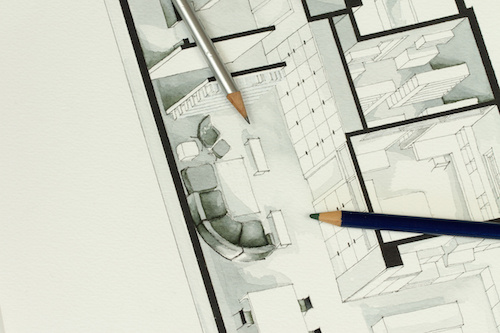 Two artistic drawing pencils set on actual real estate floor plan architectural isometric drawing stating for simplicity in interior design process and real estate business branch